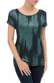 Short Sleeve Foil Print Top