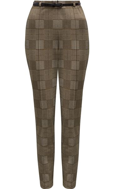 Checked Narrow Leg Belted Trousers Black/Mustard