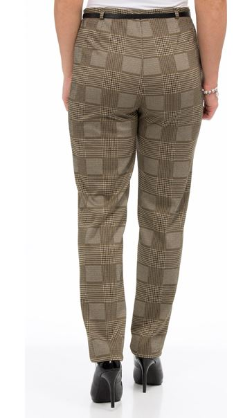 Checked Narrow Leg Belted Trousers Black/Mustard - Gallery Image 3