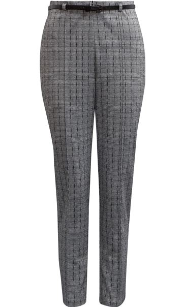 Checked Narrow Leg Belted Trousers Black/White