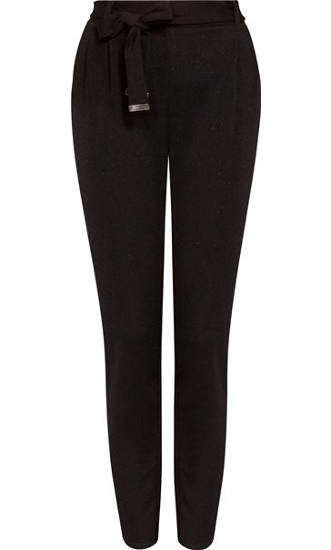 Tapered Leg Shimmer Trousers Black