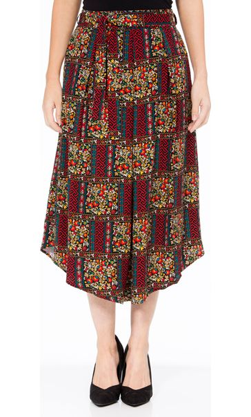 Printed Dip Hem Midi Skirt Black/Red