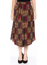 Printed Dip Hem Midi Skirt Black/Red - Gallery Image 1