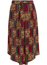 Printed Dip Hem Midi Skirt Black/Red - Gallery Image 2