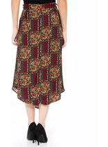 Printed Dip Hem Midi Skirt Black/Red - Gallery Image 3