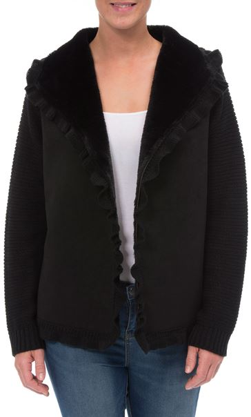 Faux Shearling And Knitted Open Cardigan Black