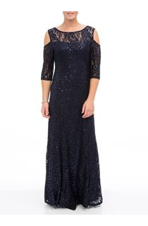 Sequin Lace Cold Shoulder Maxi Dress
