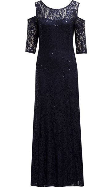 Sequin Lace Cold Shoulder Maxi Dress Midnight