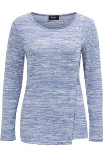 Eyelet Trim Long Sleeve Knit Top - Blue