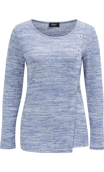Eyelet Trim Long Sleeve Knit Top Blue