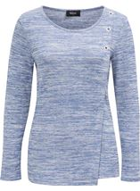 Eyelet Trim Long Sleeve Knit Top Blue - Gallery Image 1