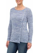 Eyelet Trim Long Sleeve Knit Top Blue - Gallery Image 2