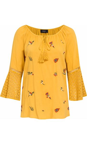 Embroidered Three Quarter Bell Sleeve Top Mustard