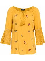 Embroidered Three Quarter Bell Sleeve Top Mustard - Gallery Image 1