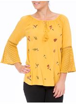 Embroidered Three Quarter Bell Sleeve Top Mustard - Gallery Image 2