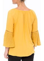 Embroidered Three Quarter Bell Sleeve Top Mustard - Gallery Image 3