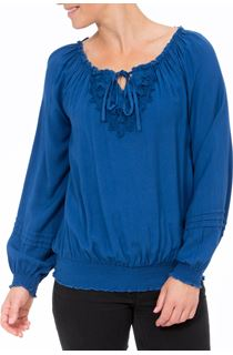 Crochet Trim Long Sleeve Top