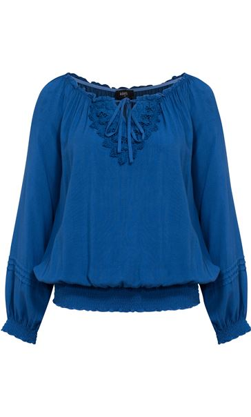 Crochet Trim Long Sleeve Top Blue