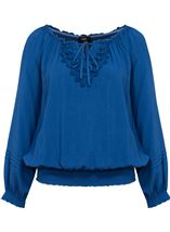Crochet Trim Long Sleeve Top Blue - Gallery Image 1