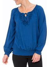 Crochet Trim Long Sleeve Top Blue - Gallery Image 2