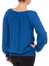 Crochet Trim Long Sleeve Top Blue - Gallery Image 3