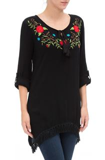 Embroidered Tassel Hem Crinkle Top