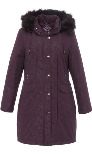 Anna Rose Faux Fur Trim Parka Plum