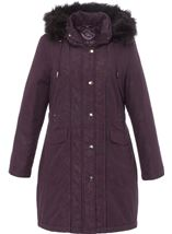 Anna Rose Faux Fur Trim Parka Plum - Gallery Image 1