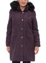 Anna Rose Faux Fur Trim Parka Plum - Gallery Image 2