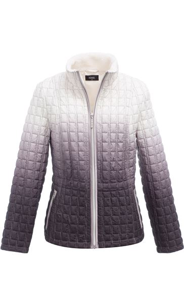 Ombre Quilted Zip Coat Natural