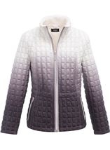 Ombre Quilted Zip Coat Natural - Gallery Image 1