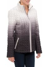 Ombre Quilted Zip Coat Natural - Gallery Image 2
