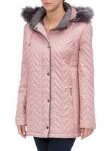 Anna Rose Faux Fur Trim Quilted Coat Rose - Gallery Image 1