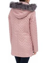 Anna Rose Faux Fur Trim Quilted Coat Rose - Gallery Image 2