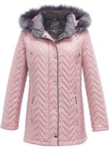 Anna Rose Faux Fur Trim Quilted Coat Rose - Gallery Image 3