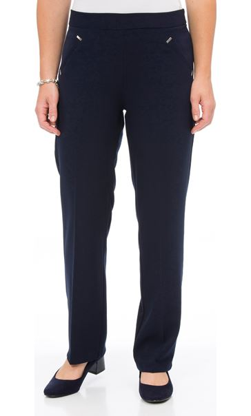 Anna Rose Straight Leg Trousers 27 inch Navy - Gallery Image 2