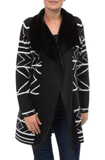 Faux Shearling Trimmed Aztek Knit Cardigan