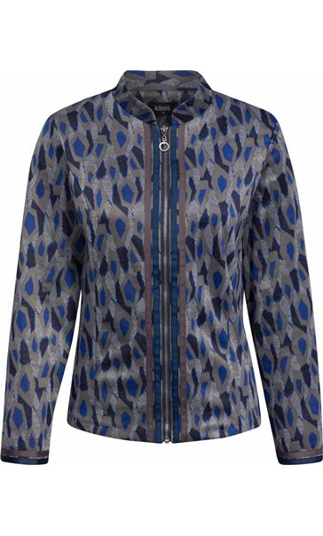 Long Sleeve Patterned Zip Jacket Navy/Grey/Blue