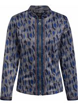 Long Sleeve Patterned Zip Jacket Navy/Grey/Blue - Gallery Image 1