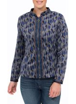 Long Sleeve Patterned Zip Jacket Navy/Grey/Blue - Gallery Image 2