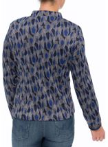 Long Sleeve Patterned Zip Jacket Navy/Grey/Blue - Gallery Image 3