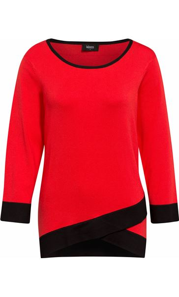 Contrast Knitted Top Red/Black