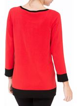 Contrast Knitted Top Red/Black - Gallery Image 3