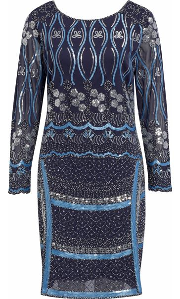 Long Sleeve Sequin And Bead Mesh Midi Dress Midnight/Silver