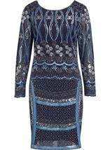 Long Sleeve Sequin And Bead Mesh Midi Dress Midnight/Silver - Gallery Image 1