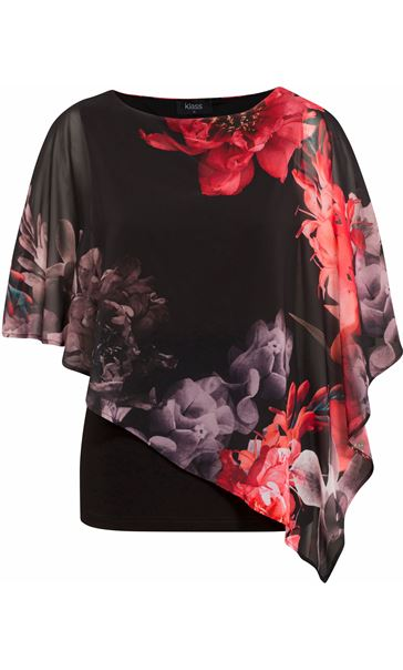 Floral Chiffon Layered Top Black/Red