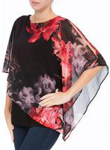 Floral Chiffon Layered Top Black/Red - Gallery Image 2