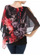 Floral Chiffon Layered Top Black/Red - Gallery Image 3