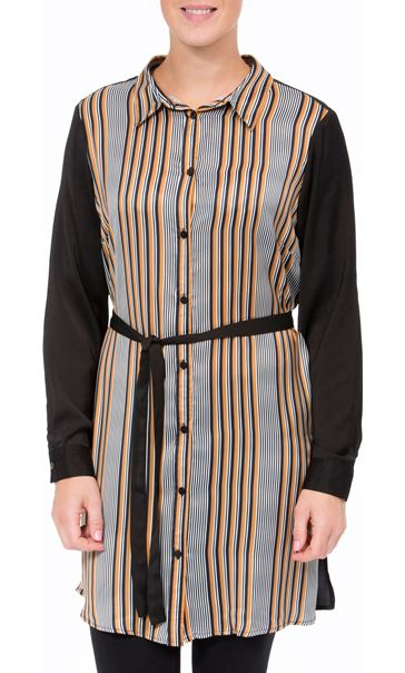 Striped Longline Shirt Black/Mustard
