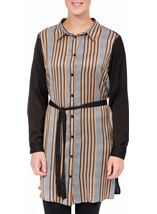 Striped Longline Shirt Black/Mustard - Gallery Image 1